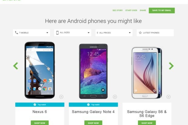 google which android phone selection