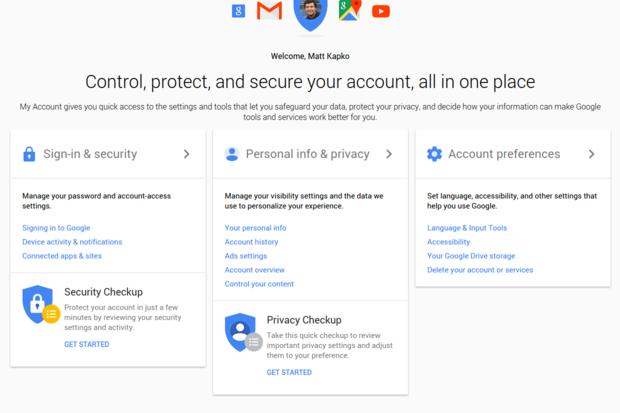 google myaccount settings
