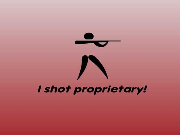 A figure with a gun and the words I shot proprietary