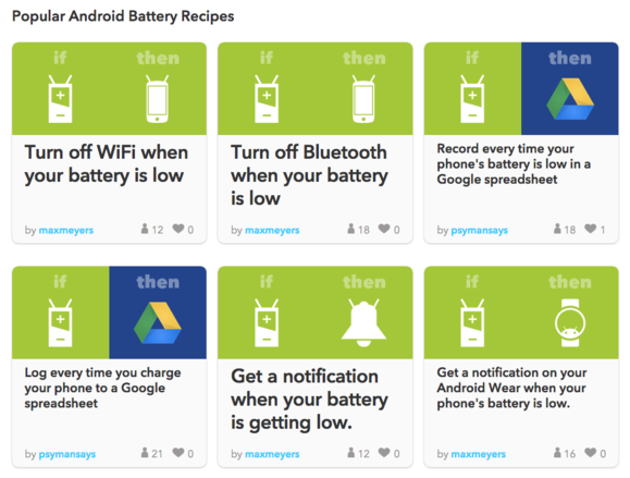 ifttt android battery web