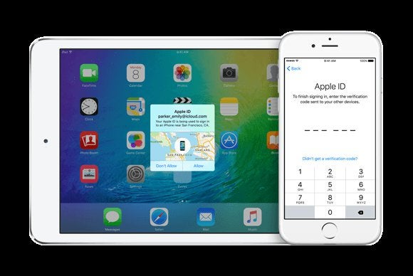 ios9 two factor login screen