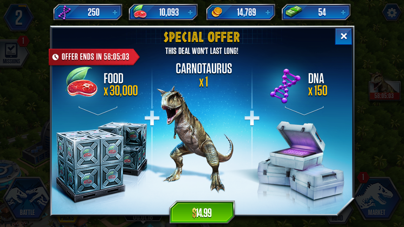 Freemium field test jurassic world the game might leave your this is one of the first prompts youre bombarded with sadly 30000 units of food doesnt last long when it comes to dinosaur sized appetites gumiabroncs Images