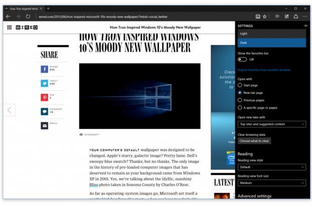 microsoft edge browser page design june 29 2015