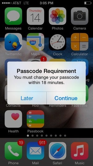 passcode change requirement