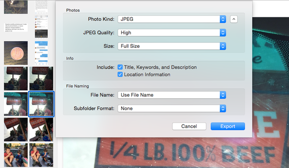 photos export options