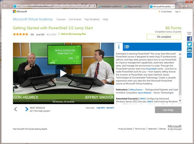 PowerShell Training via the Microsoft Virtual Academy