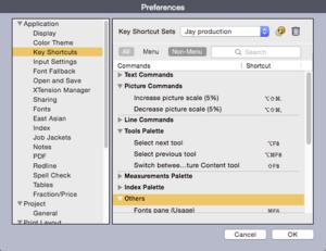 QuarkXPress 2015 prefs key shortcuts