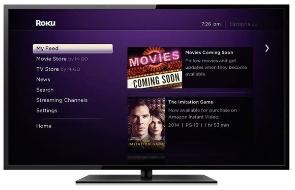 Roku My Feed user interface