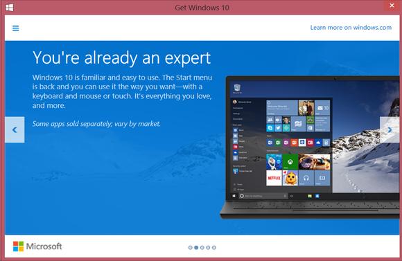 Windows 10 reservation screen