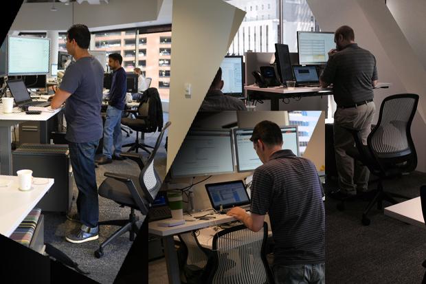 standing desk standing at work