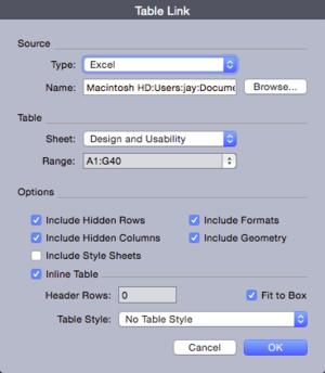 QuarkXPress 2015 table link