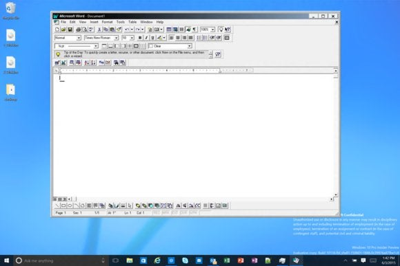 Sneak peek of Windows 10 build 10136 shows Office 95 running
