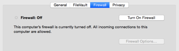 OS X firewall turn on or off