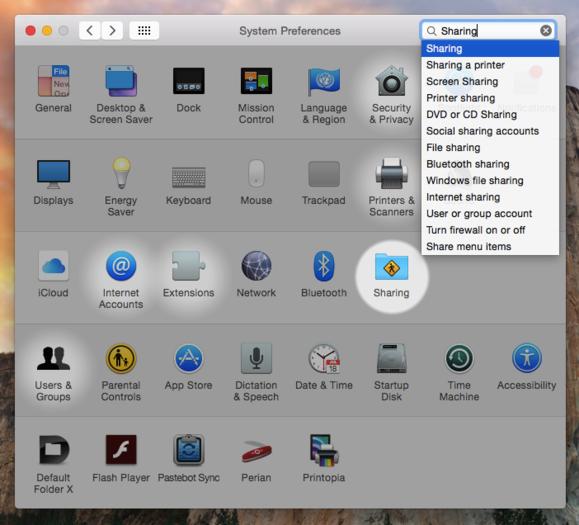OS X sharing