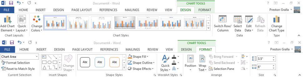 Word 2013 cheat sheet - Ribbon Chart Tools tabs