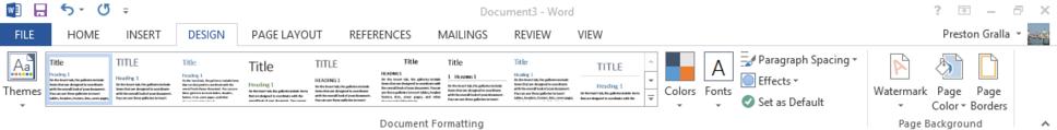 Word 2013 cheat sheet - Ribbon Design tab