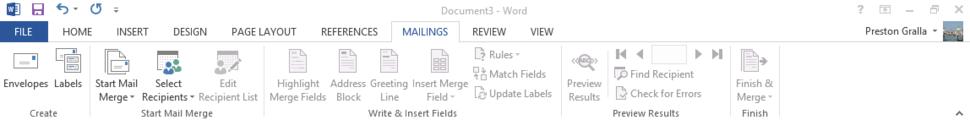 Word 2013 cheat sheet - Ribbon Mailings tab