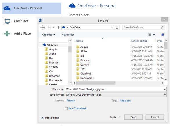 Word 2013 cheat sheet - OneDrive