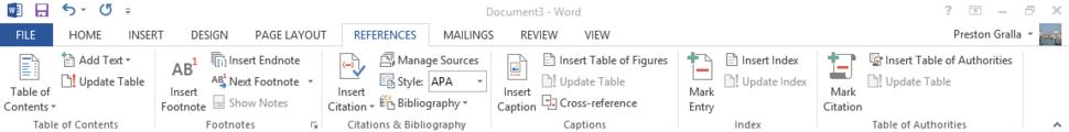 Word 2013 cheat sheet - Ribbon References tab