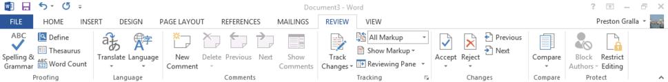 Word 2013 cheat sheet - Ribbon Review tab