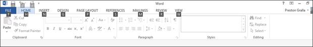 Word 2013 cheat sheet - Ribbon with Alt key pressed