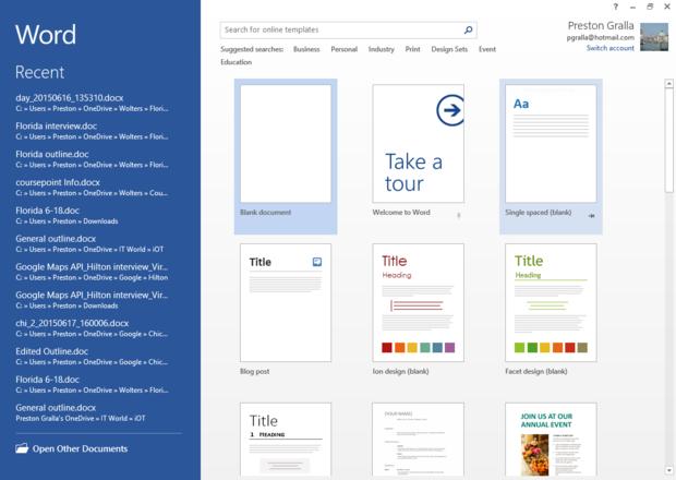 Word 2013 cheat sheet - Start screen