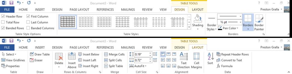 Word 2013 cheat sheet - Ribbon Table Tools tabs