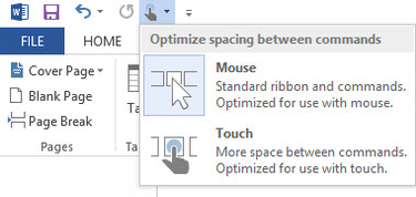 Word 2013 cheat sheet - choosing mouse or touch interface