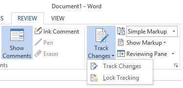 Word 2013 cheat sheet - change tracking lock