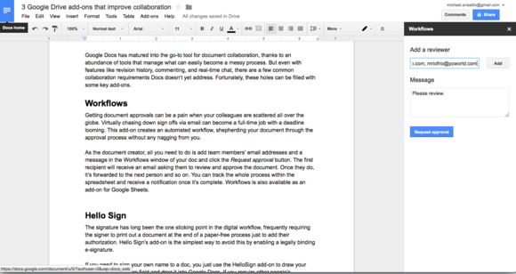 workflows for google docs