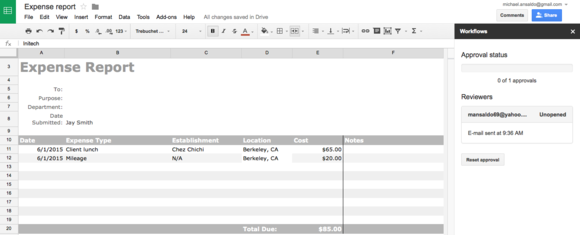 workflows for google sheets