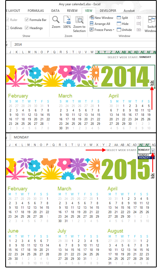 Any Year Calendar Template In Excel.  Making Graph Paper In Word