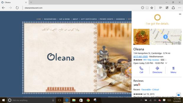 Windows 10 cortana helps edge