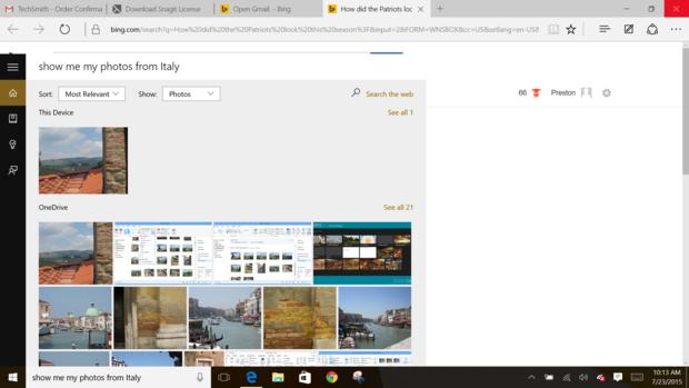 Windows 10 Cortana photos