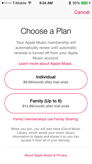 apple music choose membership