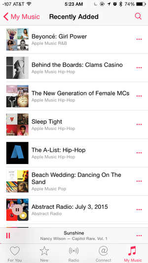 apple music recently added playlists