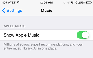 apple music settings toggle