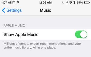 apple music settings toggle