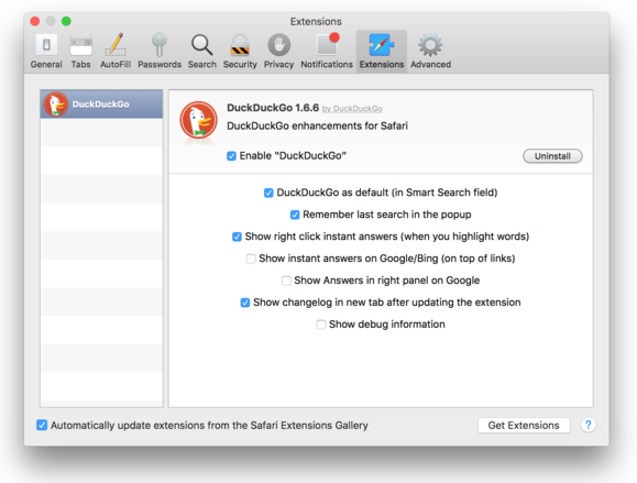 Safari 9 auto update extensions