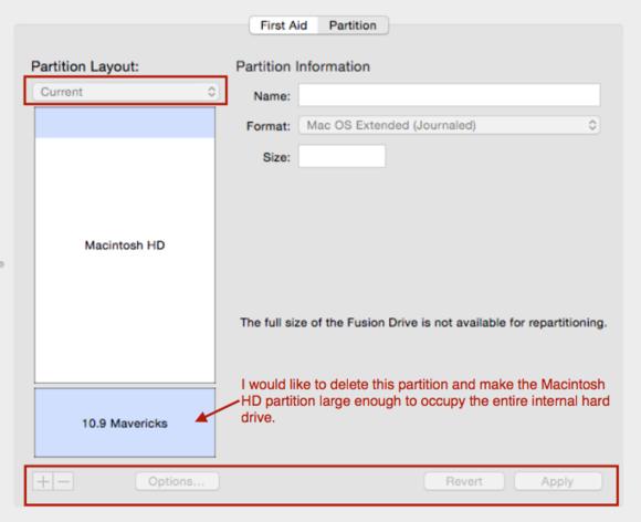 cannot delete fusion partition
