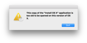 cant install old osx