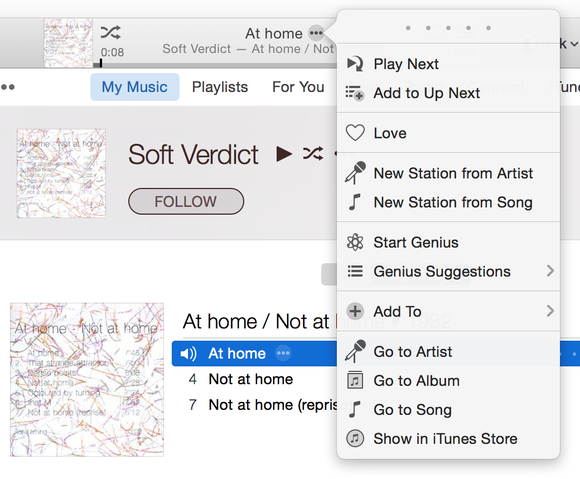 iTunes 12.2 context menu