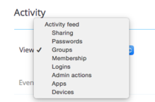 dropbox for business - activity screen