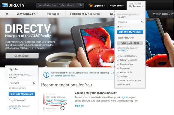 DirecTV log-in