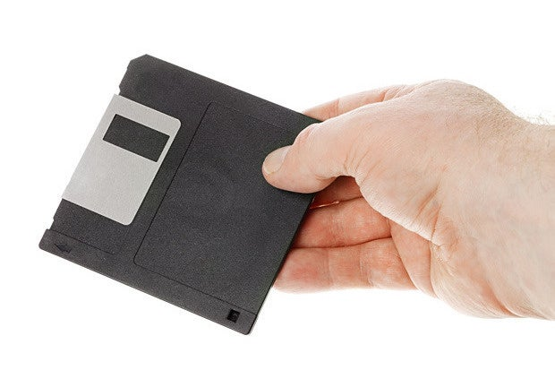 diskette hand