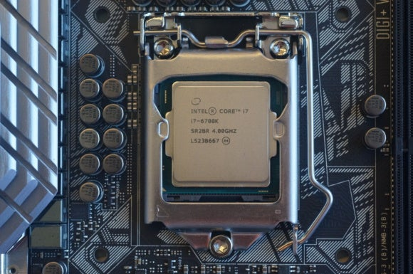 Intel Core i7-6700K on a motherboard