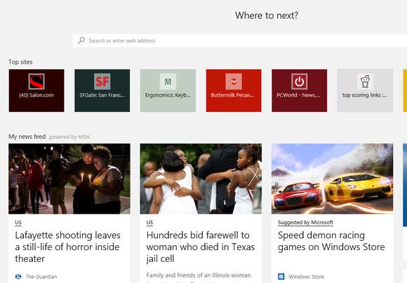Microsoft edge new tab screen