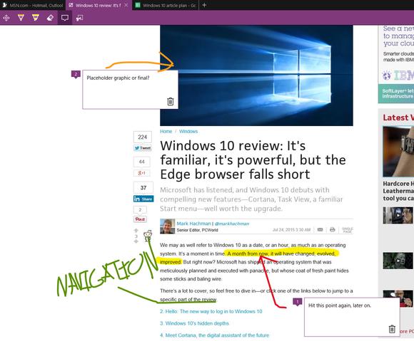 Microsoft Edge web notes