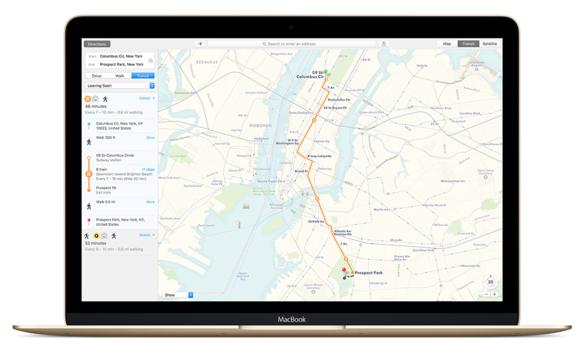 el capitan maps transit macbook