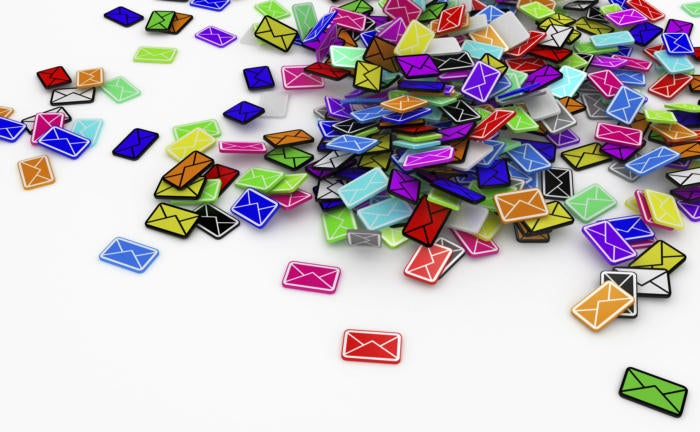 email pile stock image
